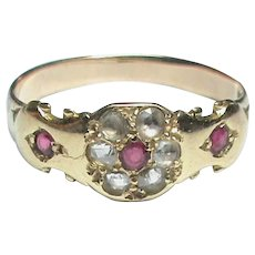 Antique Victorian 18k 18ct Gold Rose cut Diamond & Ruby Ring