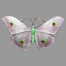Antique English 1916 Sterling Silver Enamel Butterfly Brooch by John Atkins & sons