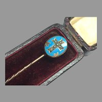 Antique Victorian 9k 9ct Gold Blue Enamel Mourning Cross Stickpin Locket Back in box