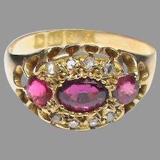 Antique Edwardian 1907 18k 18ct Gold Ruby & Diamond Ring