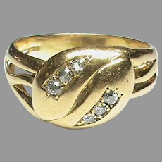 Large Heavy Antique 18k 18ct Gold Diamond double SNAKE Ring 9g size X