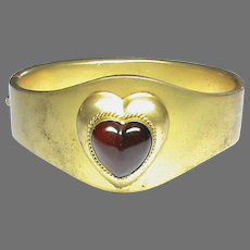Antique Victorian Red Paste Heart Bangle