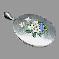 Large Antique Victorian Sterling Silver Enamel Flower Locket