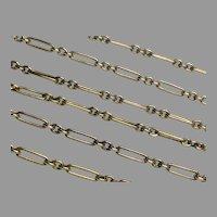 "Antique Edwardian 9k 9ct Gold Long Chain Necklace 27.5"""