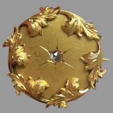 Antique French Art Nouveau 18k 18ct Gold Rose Cut Diamond Brooch