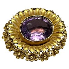 Quality Victorian 18k 18ct Gold Amethyst Brooch