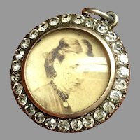 Antique Edwardian Sterling Silver Paste Double Sided Locket Pendant