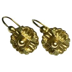 Antique French 18k 18ct Gold Earrings