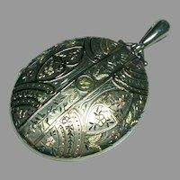 Antique Victorian 1881 Sterling Silver & 2 color Gold Large Locket