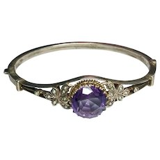 Antique Austro Hungarian Silver 900 Amethyst Seed Pearl Bangle