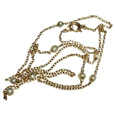 Antique Edwardian 15k 15ct Gold Natural Pearl Chain Necklace