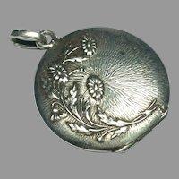 Antique French Art Nouveau Silver 800-900 Flower Locket Pendant