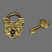 Antique Victorian WORKING Key & Padlock Clasp