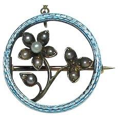 Antique Edwardian 15k 15ct Gold Blue Enamel & Seed Pearl Flower Brooch