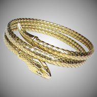 Vintage Art Deco Gold Filled Snake Bangle by Kollmar & Jourdan of Germany