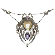 Antique Arts & Crafts Sterling Silver Mabe Pearl & Amethyst Heart Necklace - Red Tag Sale Item