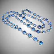 Vintage Art Deco Blue Paste Necklace
