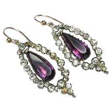 Antique Georgian Sterling Silver Paste Earrings