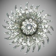 Vintage Art Deco Silver 900 Paste Sun Brooch