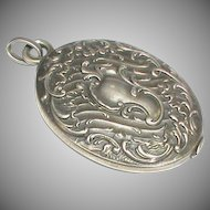 Antique French Art Nouveau Silver 800-900 Sliding Mirror Locket Pendant