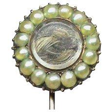 Antique Georgian c1800 9k 9ct Rose Gold Seed Pearl Mourning Locket Stick Stock Pin