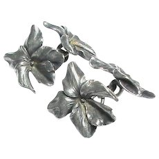 Quality Antique Art Nouveau French Silver Flower Cufflinks by Henri-Victor Miault - Red Tag Sale Item