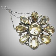 Large Antique Arts & Crafts Sterling Silver Citrine Pendant Necklace