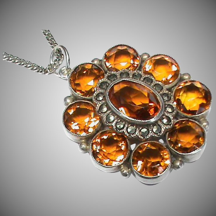 anticus large on pendant and silver chain sterling products marcasite