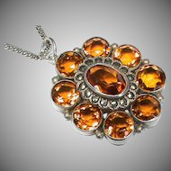 Vintage Art Deco Sterling Silver Citrine & Marcasite Pendant Necklace