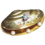 Antique Victorian 15k 15ct Gold Enamel Seed Pearl Turquoise Beetle Insect SHELL Brooch