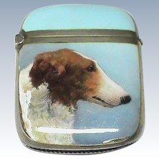 Antique German Sterling Silver Enamel Hand painted DOG Vesta