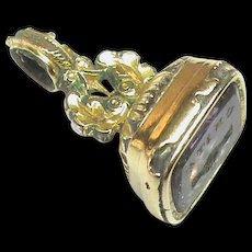 Antique Victorian Gold Filled UNITE Handshake Crystal Intaglio Seal Charm
