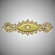 Quality Heavy Antique Victorian 15k 15ct Gold Seed Pearl Diamond Locket Brooch