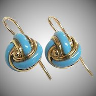 Antique Victorian 15k 15ct Gold Blue Enamel Knot Earrings