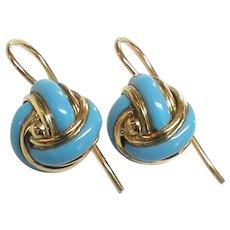 Antique Victorian 15k 15ct Gold Blue Enamel Knot Earrings