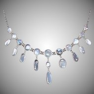 Antique Edwardian Silver Moonstone Necklace