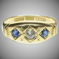 Antique Victorian 18k 18ct Gold Diamond & Sapphire Victorian