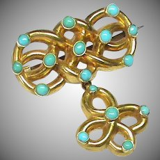 Antique Victorian 15k 15ct Gold Turquoise Knot Brooch with tiny mourning locket compartment