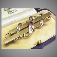 Antique Victorian c1900 15k 15ct Gold Rose cut Diamond & Pink Spinel Brooch in box