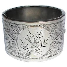 Antique Victorian Sterling Silver etched bird Wide Bangle