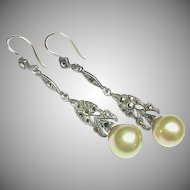 Vintage Art Deco Sterling Silver Marcasite & faux Pearl Earrings with 9k 9ct Gold Wires