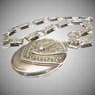 Substantial Antique Victorian 1883 Sterling Silver Locket & Collar Book Chain Necklace