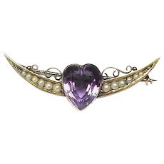 Antique Victorian 15k 15ct Gold Heart Amethyst & Crescent Seed Pearl Brooch in box