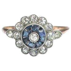 Vintage Art Deco 9k 9ct Gold & Sterling Silver Paste Ring