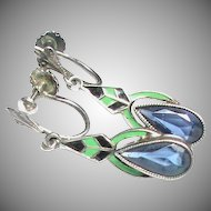 Vintage Art Deco Sterling Silver Enamel & Paste Earrings