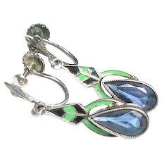 Vintage Art Deco Sterling Silver Enamel & Paste Earrings