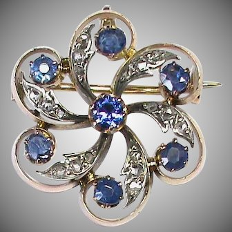 Antique Victorian French 18k 18ct Gold Diamond Brooch / Pendant