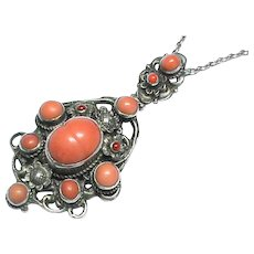 Antique Arts & Crafts Sterling Silver Coral Necklace