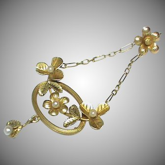 Antique Art Nouveau French 18k 18ct Gold Seed Pearl Pendant