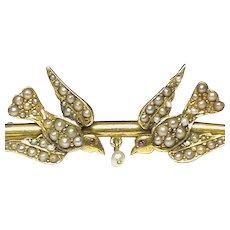 Antique Victorian 15k 15ct Gold Seed Pearl Swallow Brooch in box